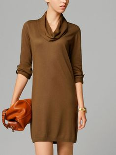 DRAPED DRESS WITH TURNED-OVER COLLAR