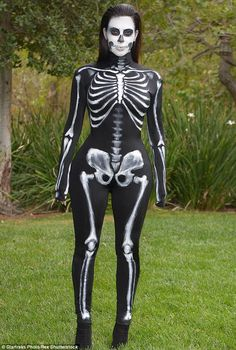 Kim Kardashian out and about in a Halloween skeleton costume, October 2014 Best Celebrity Halloween Costumes, Classic Halloween Costumes, Halloween 2014, Spooky Halloween, Halloween Party, Vintage Halloween, Vintage Witch, Halloween Stuff, Best Fancy Dress Costumes