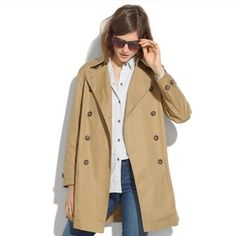 Madewell Oversized Trench Coat Beautiful jacket! Only worn a few times. Size small but cocoon style, the jacket is made to be oversized. Would fit a small-large depending on how you want it to fit. Madewell Jackets & Coats