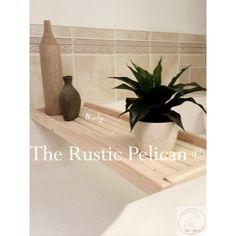 Reclaimed Wood Bathtub Caddy -Rustic Bathtub Tray iPad BathtubRustic... (£125) ❤ liked on Polyvore featuring home, bed & bath, bath, bath accessories, wood bath accessories, wooden bath accessories, wood bathroom accessories, wooden caddy and wood bathtub caddy