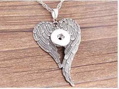 Ginger Snaps Jewelry Inspired  //  Large Angel Wings Snap Charm Pendant  // Noosa inspired  //  Gingersnap  //   Ginger Snap inspired
