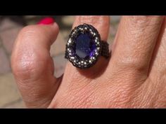 ▶ Beading4perfectionists : A bezel for an Oval 18x13mm Swarovski. Ring beading tutorial - YouTube