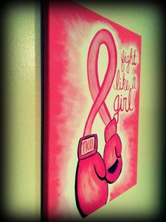 FIGHT LIKE A GIRL Canvas, Breast Cancer Awareness. $50.00, via Etsy.