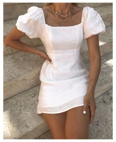 white summer dress #cute #outfits #for #spring #casual #simple #cuteoutfitsforspringcasualsimple Cute Casual Outfits, Pretty Outfits, Pretty Dresses, Casual Dresses, Summer Dresses, Simple Dresses, Chic Outfits, Mode Ootd, Elegantes Outfit