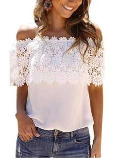 VERYVOGA Lace Off the Shoulder Short Sleeves Casual Blouses
