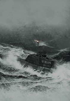 Type 21 German submarine running on the surface in a storm with an extended snorkel light.