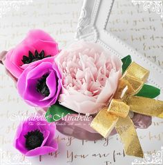 シャクヤクとアネモネのフラワーキャンドル #peony,#anemone,#candle,#flower,
