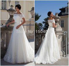 Vestido де феста лонго 2015 платье невесты новое поступление кружева аппликации линии с коротким рукавом белый свадебные платья дешевые, принадлежащий категории Свадебные платья и относящийся к Одежда и аксессуары на сайте AliExpress.com   Alibaba Group