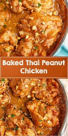 Baked Thai Peanut Chicken - Savory, delicious skinless chicken thighs baked in a quick homemade Thai peanut sauce that's ready in just 35 minutes then topped with crushed peanuts. Baked Chicken Recipes, Meat Recipes, Asian Recipes, Crockpot Recipes, Dinner Recipes, Cooking Recipes, Keto Chicken, Chicken Alfredo, Chicken Pasta