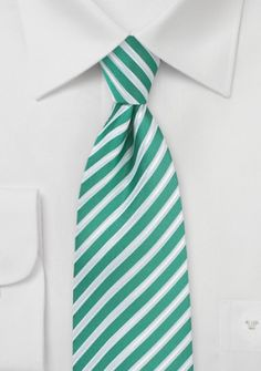 Krawatte Business-Streifen flaschengrün perlweiß