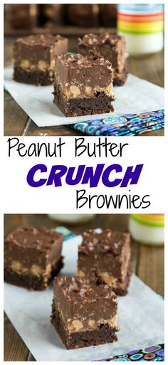 Peanut Butter Crunch Brownies - A fudgy brownie, topped with a layer of peanut butter cups, and then a layer of chocolate/peanut butter crispy fudge.  Pure chocolate and peanut butter heaven!