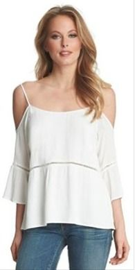 Gauzy cold shoulder blouse with feminine details..... great for a summer wedding party or a night out!