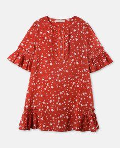 Abigal Red Star Print Dress #girlsdress #dress #winterbrights