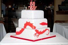 Dragon Phoenix wedding cake from DisappearingDesserts.com
