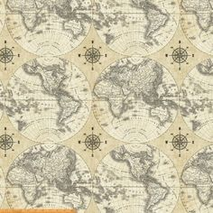 Details about cotton expedition world map ocean routes vintage 44 creme and black world map 100 cotton by windham fabrics 40026 x gumiabroncs Gallery