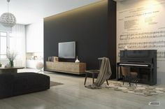 Monochrome Lounge With Dark Feature Wallpaper