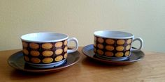 Vintage Gefle Sweden Two Cups and Saucers by by JohannasGaze