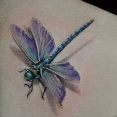 3-D dragonfly tattoo is so beautiful!!