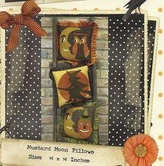 Primitive Folk Art Wool Applique  Pattern:  MUSTARD MOON PILLOWS. $8.00, via Etsy.