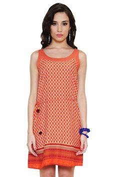8dd6c6c7756 Global Desi Womens Boho Printed Dress with Waist Tie