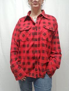 54e3cf41fe0 Vtg SEARS Red Black Printed Buffalo Plaid Flannel Shirt Mens XL Grunge 90s  USA  Sears  ButtonFront