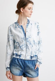 Cazadora Bomber Chambray Bleached | Forever 21 Mexico