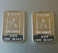 2X 1 Gram .999 99.9% Fine Pure Solid Silver Bars Bullion U.S Army SHINY INGOTS