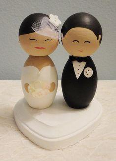 Custom Handmade Wooden Wedding Cake Toppers by DSMeeBee on Etsy