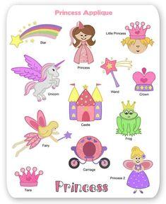 Princess Embroidery Applique Designs Fairy Castle Tiara Unicorn Prince