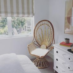 Our was the perfect accent for this sweet bedroom by on the It will be for sale tomorrow at The Wonder Room. Decor, Surf Decor, Wicker Chair, Peacock Chair, Home, Girls Bedroom Green, Elegant Homes, Porch Chairs, House Tours