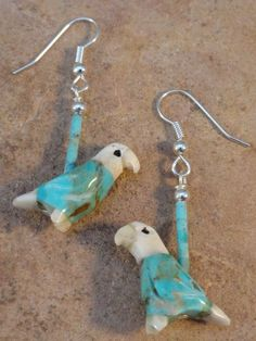 Hand Carved Turquoise Eagle Fetish Earrings $24.00