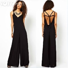 a27cb8f30e38 Online Shop XS-XXL Backless 5 Cross One Piece Loose Jumpsuits Rompers Sexy  Black Casual Plus Size Overalls for Women 2014 Summer New Fashion