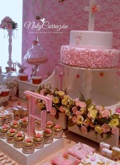 Pink ruffle cake at a pink baptism party! See more party planning ideas at CatchMyParty.com!