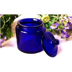 blue glass cookie jar!