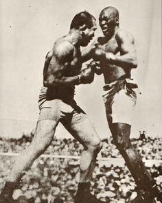 Jack Johnson vs. Jim Jeffries July 4, 1910. World Heavyweight Championship won by Johnson KO 15th round
