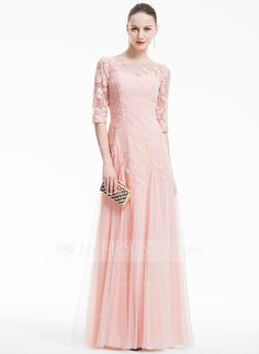 A-Line/Princess Scoop Neck Floor-Length Tulle Evening Dress With Appliques Lace (017074930)
