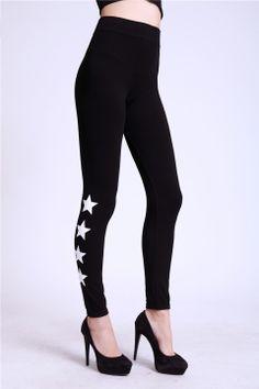 Fashion Women Sports Stars Print High Waist Leggings