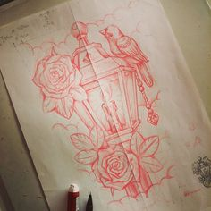 Lantern last sketch, ready to get finished. #dfmurcia #lantern #tattoo #bird #roses #diamond