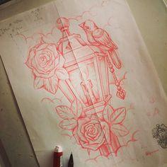 Lantern last sketch, ready to get finished. #dfmurcia #lantern #tattoo #bird #roses #diamond