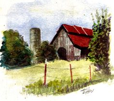 """Tobacco Barn, Maryville, TN""  Watercolor painting by LcBookout  http://lcbookout.webs.com  http://www.facebook.com/lcbookout.art"