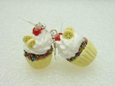 Banana Split Cupcake Earrings.