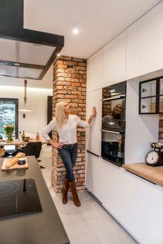 Kitchen Room Design, Living Room Kitchen, Home Decor Kitchen, Kitchen Interior, New Kitchen, Home Kitchens, Brick Interior, Küchen Design, House Design
