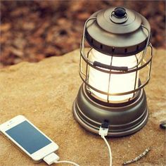 Barebones Forest Light Camp Lantern with Built in USB Charger! Perfect for camping or lighting up back yards.