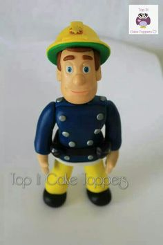 Fireman Sam cake topper. Made with homemade marshmallow fondant