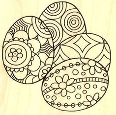 """{Single Count} Unique & Custom (3"""" Inches) """"Seasons Changing Festive Decorative Variety Pattern Easter Eggs"""" Square Shaped Genuine Wood Mounted Rubber Inking Stamp mySimple Products"""