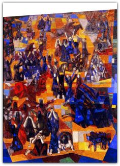 Murais Guerra e Paz (1953-1956) para a sede da ONU, em Nova York - Candido Portinari  Entre 1953 e 1956, realiza os murais Guerra e Paz (1953-1956) para a sede da ONU, em Nova York, obras de grandes dimensões, em que trabalha com uma sobreposição de planos.   http://sergiozeiger.tumblr.com/post/106409060908/candido-portinari-brodowski-29-de-dezembro-de