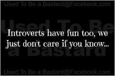 Introverts have fun too,  we just don't care if you know....