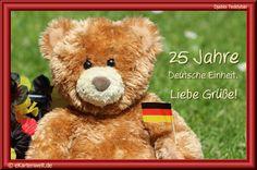 25 Jahre Deutsche Einheit. Liebe Grüße! Animierte Djabbi Teddybär Grußkarte zum Tag der deutschen Einheit