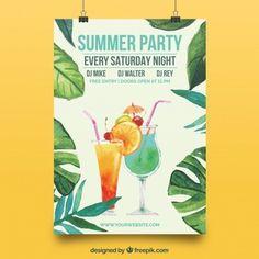 Affiche élégante avec feuilles d'aquarelle d'été