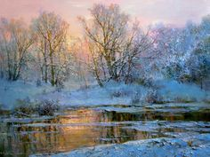Oil painting by Russian artist Yuri Obukhov.From the series 'Seasons'. Painting Snow, Winter Painting, Winter Art, Oil Painting Abstract, Watercolor Landscape, Landscape Paintings, Landscapes, Pintura Exterior, Russian Painting
